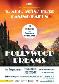 HOLLYWOOD DREAMS FILM MUSIC CONCERT  TO TAKE PLACE AUGUST 9th IN BADEN, NEAR VIENNA